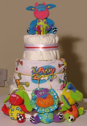 essential zany zoo nappycake - 3 tier