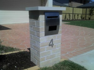 Facebrick Letterbox, Sandstone Cap and Stainless Steel Letterbox Insert (Other Options Available)