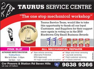Taurus Service Centre - Mechanic. Western Sydney. award winning workshop