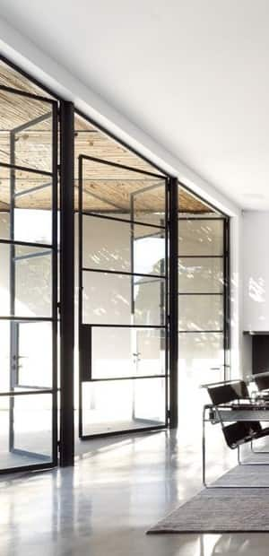 Black Accordion Doors : Steel frame windows in heidelberg west melbourne vic