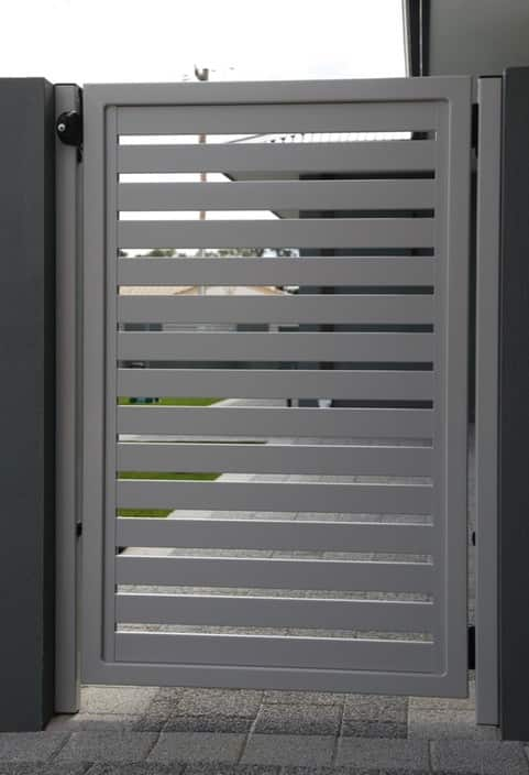 Silver Pearl Powder Coated Aluminium Slat Fence And Gates