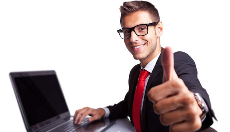 Image result for happy at computer business person