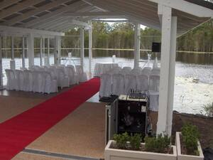 Speaker and mixing desk set up for a ceremony at Laguna, Sirromet Winery