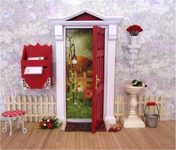 Pink opening fairy door with matching window and removable for Fairy doors au