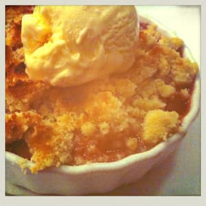 Apple, strawberry and rhubarb crumble