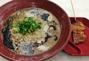 Garlic Tonkotsu Ramen with BBQ pork skewer.
