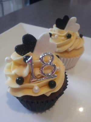 Cupcake Princess Pic 2 - Heavenly Chocolate Cake Classic Vanilla Cupcakes with Silver 18 Black White Balls