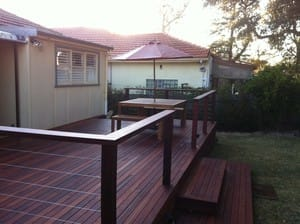 Emerald Building & Carpentry Services Pic 3 - Merbau decking posts handrail finished with stainless steel wires