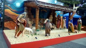 Christmas manger scene outside Saint Mary's Cathedral, Sydney. Christmas 2016