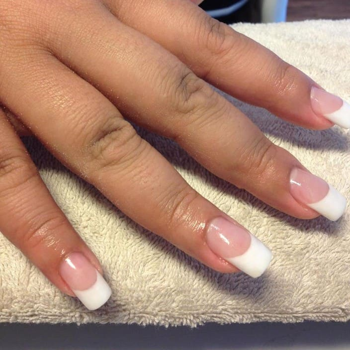 Creative Nailz Pic 1 - classice white french acrylic nails
