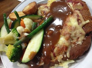 Currumbin Creek Tavern Pic 2 - Soggy veal parmigiana with gravy veggies
