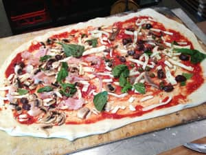 Napoli Nel Cuore Pic 5 - Our halfmetre Capricciosa and Napoletana just before it went into the oven
