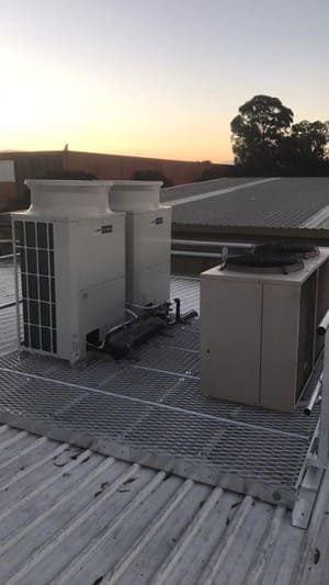 DMJ Air Conditioning Pty Ltd Pic 2 - Just finishing a large commercial install of two Mitsubishi Electric city multis and relocation of a existing temperzone onto a new compliant roof platform Aluminium platform provided by Rob Campbell at OZ height safety