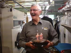 Top Cat Dry Cleaners Pic 3 - Kevin Mayo the founder of Top Cat on his 73rd birthday Kevin founded Top Cat in 1973