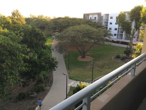 Itara & Jacana Apartments Pic 2 - Looking down along the river walk from the 4th floor of Itara apartments