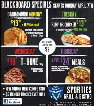 Condamine Sports Club Of Warwick Pic 2 - Members Meal Deals