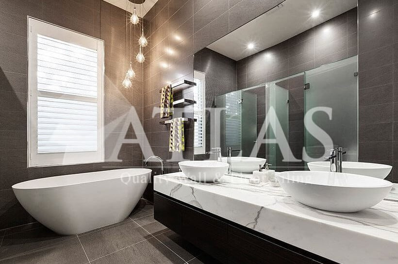 Atlas Tiling Perth Pic 1 - Beautiful Hanging Pendants in a Stunning Bathroom Atlas Tiling Perth