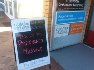 Niggles & Knots Remedial Massage Pic 4 - Look out for the Niggles Knots signage as the clinic itself is tucked down the back of the Sugarcane arcade so easy to miss if you dont see the signs or Aframe