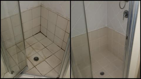 GroutPro Grafton Pic 2 - Before and after snapshots of a mouldy shower returned to its former beauty