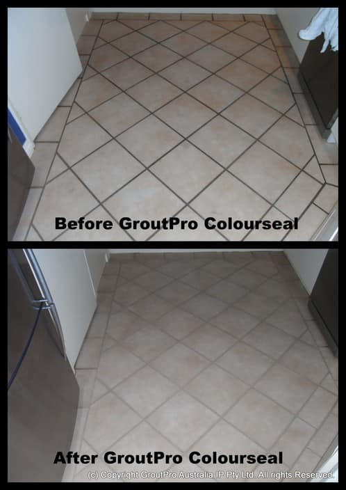 GroutPro Grafton Pic 1 - Grout ColourSeal transforms dirty old grout to a colour to suit your tastes and at the same time seals the grout so that it wont become stained again