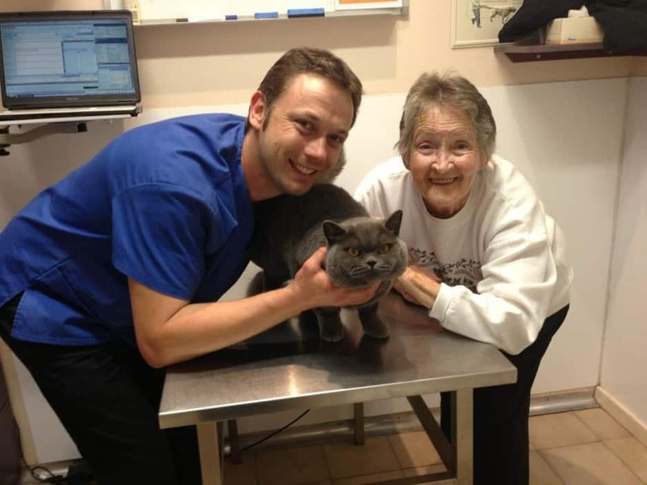 Bayswater Vet Clinic Pic 1 - Dr Peter Oscar and his mum after his perennial urethrostomy