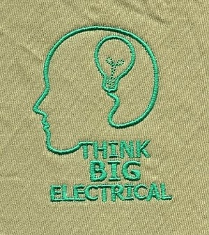 Think Big Electrical Pic 5 - Embroidery on uniform The khaki represents earthy undertones or recycled cardboard and the green implies a fresh environmentally friendly aspect to our business