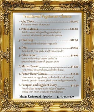 Maaza Restaurant Pic 2 - Vegetarian Menu Options