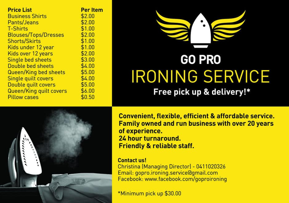 Go Pro Ironing Service In Clayton South Melbourne Vic