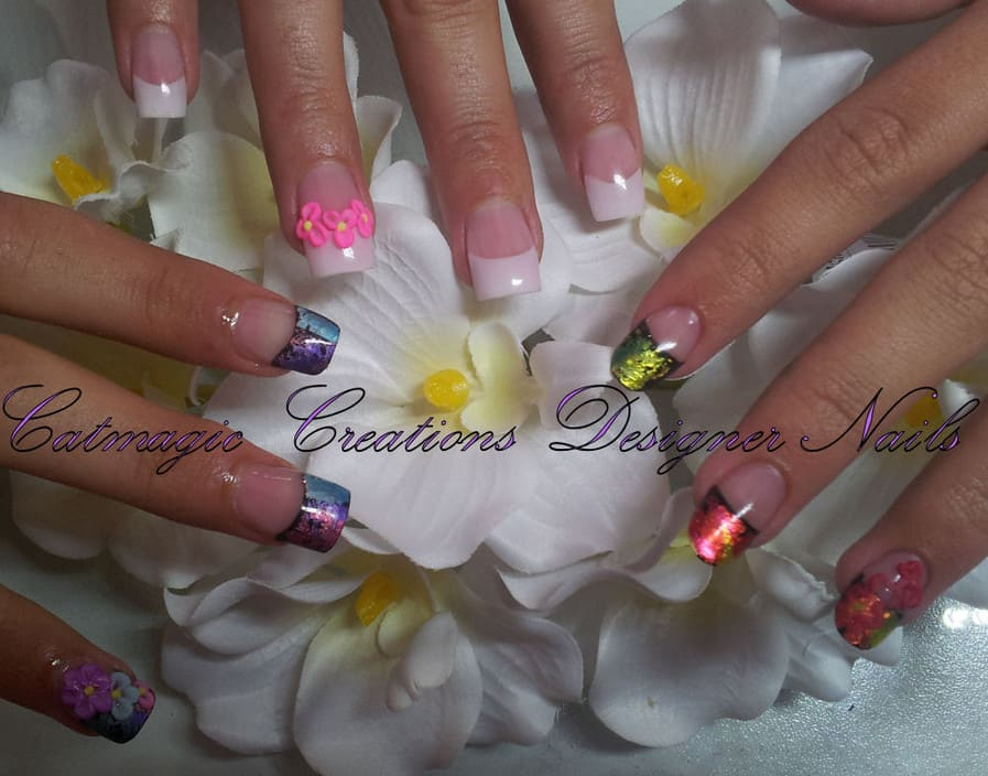 Catmagic Creations Designer Nails Pic 1 - acrylic french and foiled nails with 3d flower feature nails