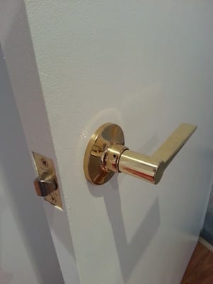 Sentinal Locksmiths Pic 3 - Polished Brass lever set lock supplied and fitted available in a variety of functions