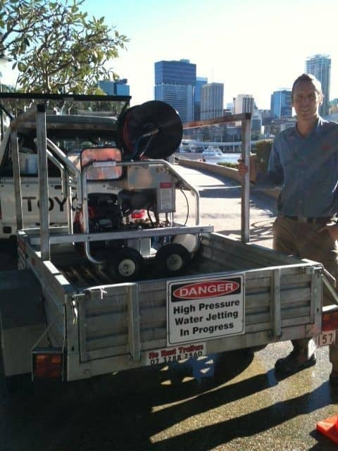 Shane Taylor Plumbing Maintenance Pic 1 - Shane with Hydrojetting Machine at Southbank Clears all blocked drains
