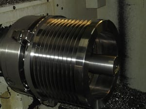 Ford McKernan Engineering Pic 5 - 400 mm Vee Pulley being machined
