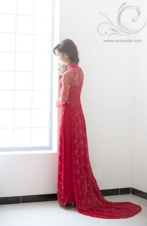 Ceci Ao Dai & Formal Dresses Pic 2 - Elegantly soft touch red lace ao dai dress with red glassbeads on floral pattern