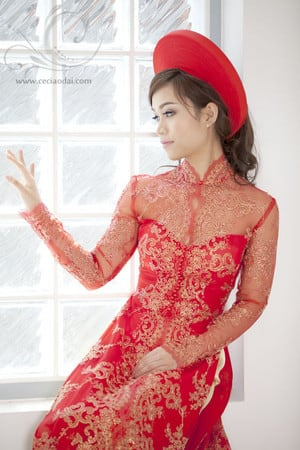 Ceci Ao Dai & Formal Dresses Pic 3 - Soft traditional ao dai neckline with pearl buttons