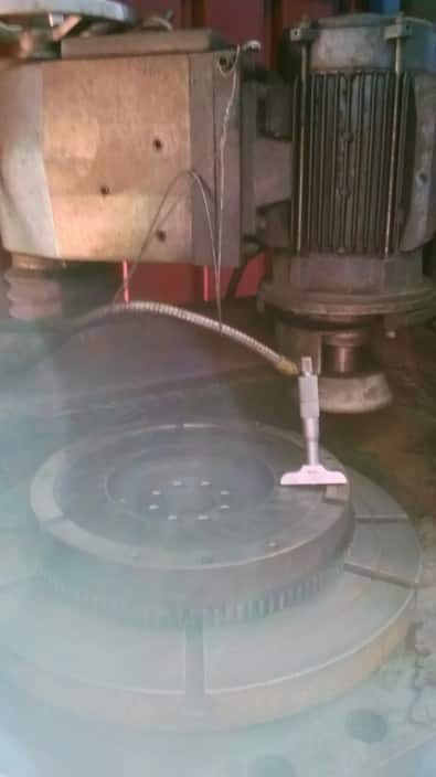 Drift Domain Pic 1 - Measuring flywheel step for machining