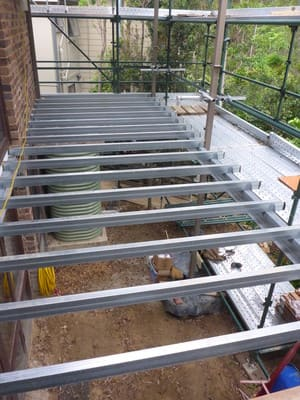 KRG Building Services Pic 4 - Steel frame in bushfire area Duragal joists and hot dipped galvanised posts and beams