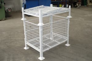 B J Turner & Co Pic 2 - Collapsible cup foot stillages can be mesh or sheet metal all round
