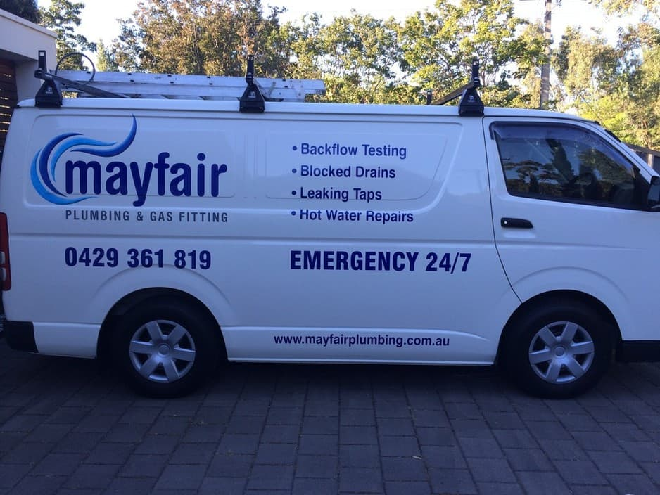 MAYFAIR Plumbing and Gasfitting Pic 1 - Mayfair Plumbing and Gasfitting Service Van parked after a big day of plumbing in Adelaide