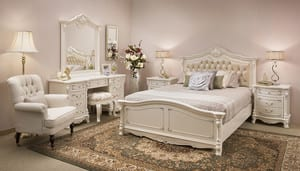 By Dezign Pty Ltd Pic 4 - The premium Helene bedroom suite is crafted from birch timber with painted white finish Complete with hand studded full leather bed head