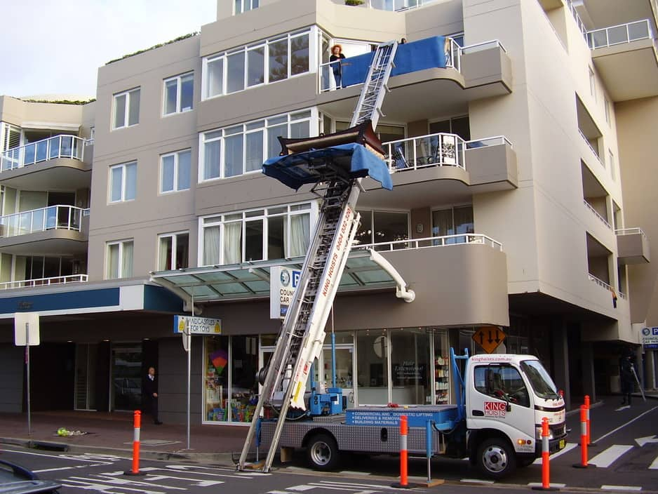 King Hoists Pic 1 - lifting to a balcony in manly