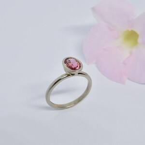 Louise Shaw Jewellery Pic 3 - Pink Tourmaline and white gold solitaire ring