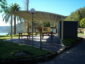 Torrens Water Ski Gardens & Caravan Park Pic 2 - Our waterfront covered entertainment pavillion with TV